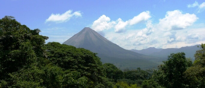 arenal volcano from mistico park