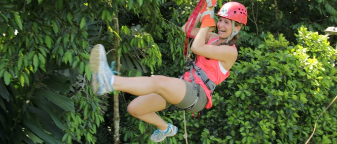 cute girl ziplining