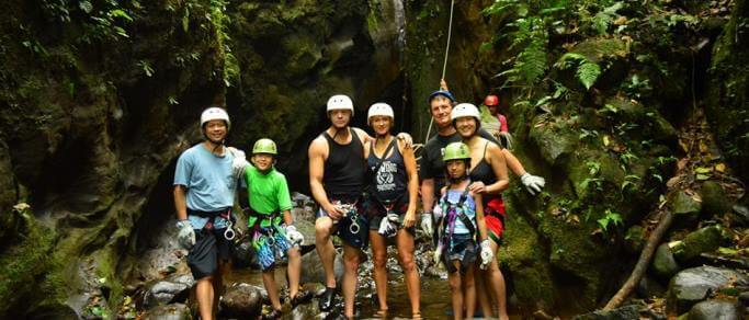 waterfall rappelling tour for families