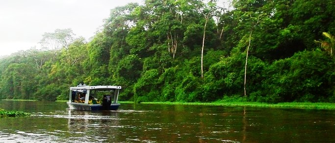 boat tour in the rainforest jungles of costa rica
